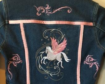 Girls jean jacket, beautiful!!! Pegasus with BLING!!!!