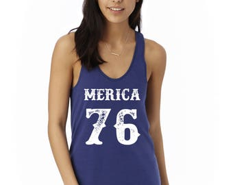 MERICA '76 - Womens July 4th Tank, Fourth of July Tank Top, Graphic Tank, Patriotic Tank