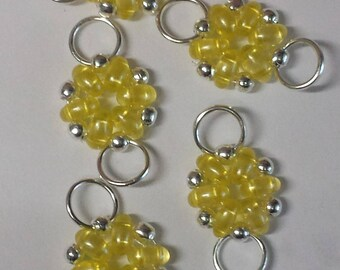 5 beads transparent yellow superduos connectors - 12x21mm