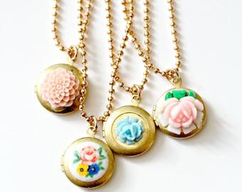 Locket necklace, Girls locket necklace, Necklace for girls, flower girl necklace, birthday gift, kids jewelry, Birthday present, Girl gifts