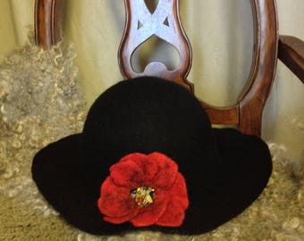 Stylish black and red, wool felted hat, hand made, merino wool hat, warm hat, wet felt hat