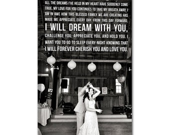Personalized Holiday Gift Your Wedding Pictures to Canvas Art Personalized with Your Words Vows lyrics