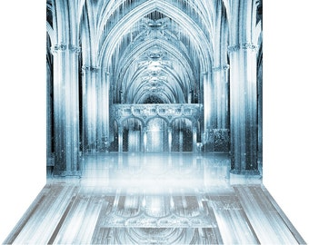 Photo Backdrop - Ice Palace - High Quality Seamless Fabric with Floor (optional)