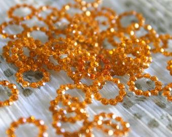 Brilliant Orange - Bollywood Rhinestone circles 10mm (6)