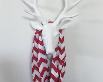 Chevron Infinity Scarf - Red & White - Cotton Jersey Knit