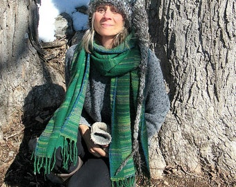 hand knit slouchy hat art yarn wool fantasy winter stocking hat -  new best imaginary friend - tree bark