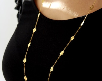 Long gold chain necklace / long leaf necklace / double strand necklace / birthday gift idea