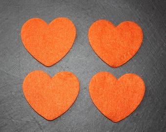 Set of 4 hearts decorate felt orange