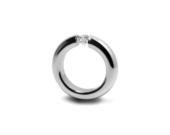 White Topaz Mens Tension Set Ring in Stainless Steel