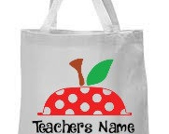 Canvas tote with large apple and teachers name