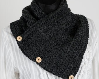 Charcoal gray Chunky Scarf wooden buttons Wrap Crochet Cowl Button Scarf Chunky Snood Boston Harbor Scarf neck warmer handmade scarf