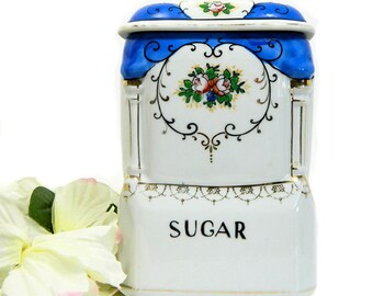 Porcelain Blue and White Sugar Canister Japan