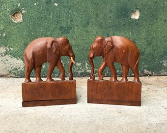 Vintage Carved Wooden Elephant Bookends