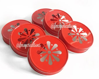 Red Color Daisy Lids--(6) Wedding Daisy Lids, Daisy Cut  Blue Mason Jar Lids, Mason Jar Lids