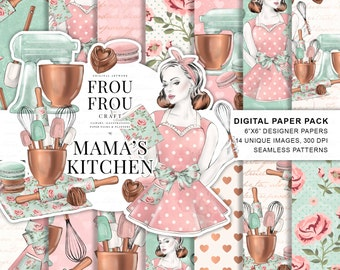 Retro Paper Pack Recipe Card Bridal Shower DIY Bakery Digital Backgrounds Restaurant Printable Insert Pages Kitchen Pink Peach Mint Copper