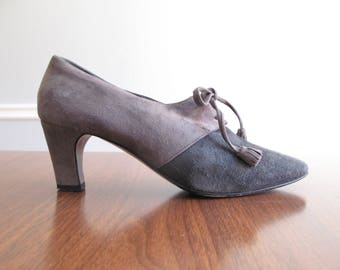 gray suede heels - 80s vintage Donna Karan charcoal soft genuine leather oxford lace up tassel pumps menswear shoes two tone warm size 6.5