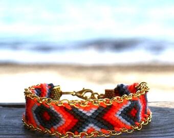 Chain Trimmed Friendship Bracelet. Hot Red.