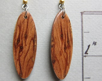 Zebrawood Exotic Wood Earrings, Handcrafted by ExoticWoodJewelryAnd Hypoallergenic wires