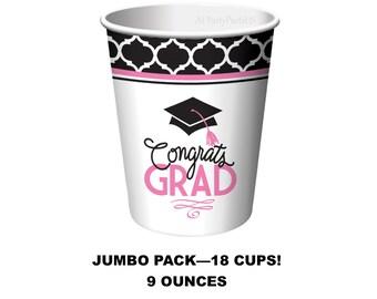 pink and black graduation cups, Congrats Grad tableware, class of 2018, graduating, nursing school graduates, nurses, congrats grad, girls