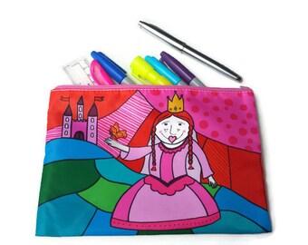 Pencil holder, princess pencil case, Cosmetic bag, makeup bag, pencil case, princess bag, pouch, case, purse, makeup pouch