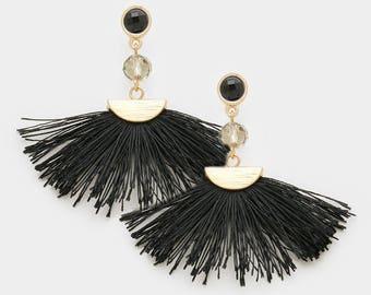 Sale| Black Silk Tassel Earrings, Fan Tassel Post Earrings, Fringe Dangle Earrings, Boho Jewelry, Hippie, Indie, Retro, Gatsby, Black and Go