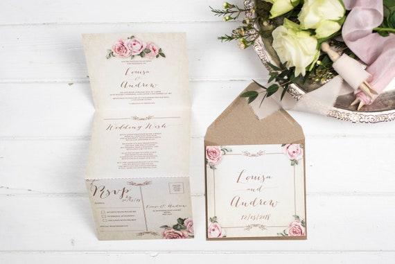 Vintage Wedding Invitation - Double-Folded Ivory Floral Framed (portrait)