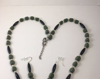Forest green serpentine, black buffalo bone hairpipe beaded necklace and earring set
