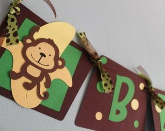 Monkey Baby Shower Banner, Monkey Baby Boy Banner, Monkey Baby Shower Decorations