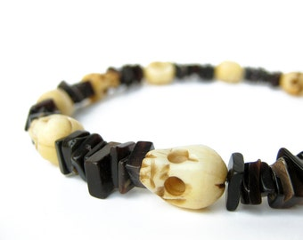 RESERVED FOR SCOTT - Men's bracelet - Skulls and black shell - Headhunter