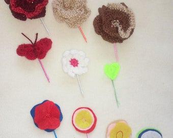 Crochet Hairpins, Felt Hairpins, Hairpins, Butterfly Hairpin, Heart Hairpin, Flower Hairpin, Rose Hairpin, Hair Accessories (10 items)