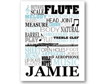 Flute Typography Poster, Flutist Gift, Flute Player Art, Flute Player Canvas, Flute Player Gift, Band Gift, Flute Art Print, Flute Canvas