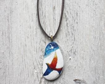 Hand painted Rainbow bird stone pendant