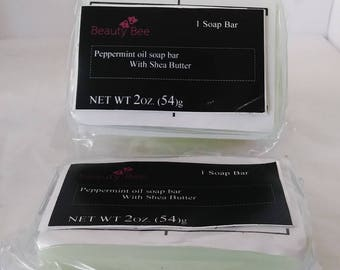 Handmade Peppermint oil shea butter bar soap