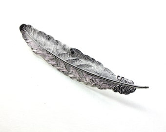 As-Is SALE 2 Large bright silver FEATHER jewelry embellishment 89mm x 17mm (ST4b) .