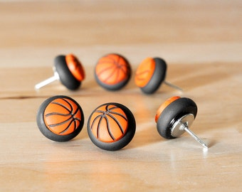Basketball Push Pins in Black Polymer Clay. Custom College, NBA Team Colors Available. Home Office Organization Unisex/Men Gift Set of 6
