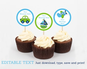 Transportation Vehicles Car Truck Sailboat Airplane Cupcake Toppers / Party Favor Tags / Party Circles INSTANT DOWNLOAD Editable PDF A306