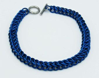 Blue Chainmail Bracelet, Half Persian Weave, Chainmaille Bracelet, Chainmail Weave, Chainmail Jewelry, Handmade Bracelet