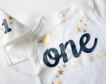 Boy First Birthday Outfit - Personalized - First Birthday - Cake Smash Set for a Boy - Twinkle Little Star Boy Outfit - Gold and Navy Blue