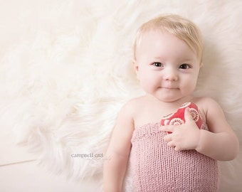 Sitter Romper 6 to 12 Months  - Ribbed Knit Romper with Matching Bonnet - Simply Solids Romper - Knit Bonnet - Photography Prop