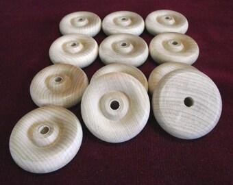 12  Hardwood  Wheels  1-3/4 inch diameter with 1/4 hole  unfinished