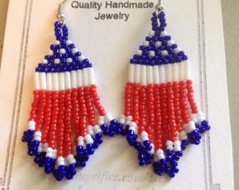 Small Red White Blue Beaded Earrings