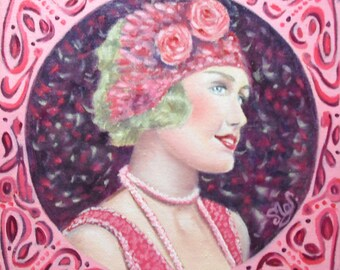 Oil painting portrait woman roaring twenties retro Pink Purple