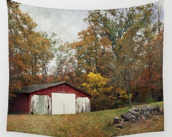 Barn Tapestry, Barn Wall Hanging, Red Barn Tapestry, Autumn Tapestry, Landscape Tapestry, Fall Tapestry, Old Farm, Nature Tapestry, Country