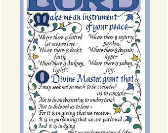 Peace Prayer St. Francis, inspirational print, Free US Shipping! hand-lettered, beautifully decorated, ready for framing in three colors