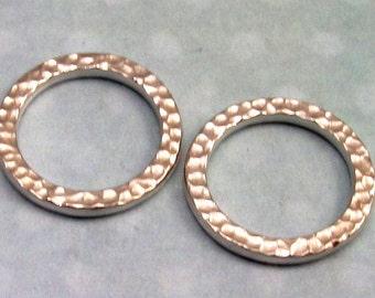 Large Round Ring, TierraCast Hammertone, Rhodium 2-Pc. TR5