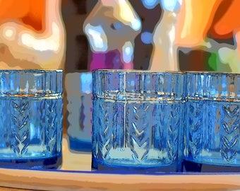 Blue Chex Glasses Set of 4