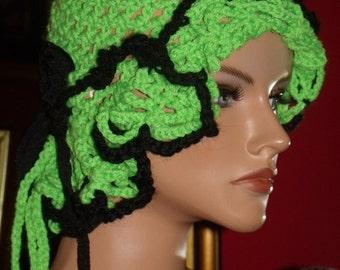 Green Black Crochet Flapper Hat Cloche 1920s Theme Antique style hat