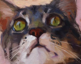 Pet Portraits, Original Cat Oil Painting, Animal Painting, Original Art, 6x8 in