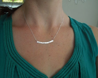 silver bar necklace, simple necklace, delicate bar, dainty necklace, arc arch, sterling silver bridesmaids gift, everyday, horizontal, N49
