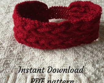 Knitting pattern for winter headband, plait effect headband pattern, PDF cable knitting pattern headband, instant download